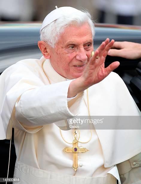 Pope Benedict XVI greets the multitude on March 24, 2012 in Guanajuato, Mexico.