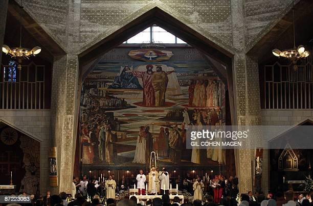 Pope Benedict XVI holds a mass at the Church of the Annunciation believed to stand at the site of Mary's house where angel Gabriel appeared and...