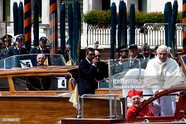 Pope Benedict XVI is driven on the Canale Grande during his two days visit to Venice