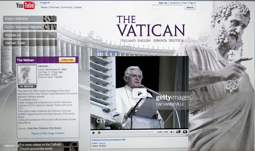 Pope Benedict XVI launches his own YouTube channel, the latest Vatican effort to reach out to the digital generation. The Vatican said it was launching the channel to broaden Benedict's audience while also giving the Holy See better control over the papal image online in Rome,Vatican City State on January 23, 2009