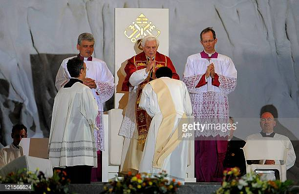 Pope Benedict XVI leads a prayer vigil on a vast dusty esplanade outside Madrid during the World Youth Day festivities on August 20 2011 Emergency...