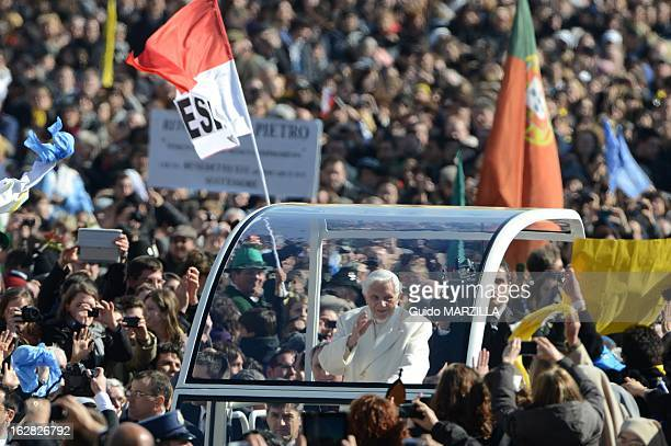 Pope Benedict XVI leads his final general audience before his retirement in St Peter's Square on February 27 2013 in Vatican City Vatican More than...