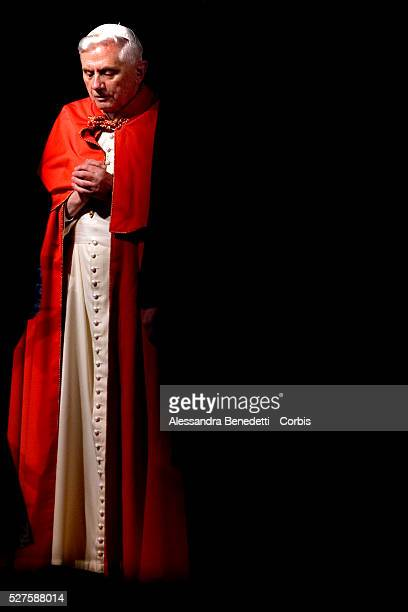 Pope Benedict XVI leads his first Via Crucis, way of the Cross, part of the solemn celebrations of Easter's Holy Week at the Roman Colisseum in...