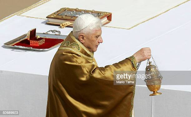 Pope Benedict XVI leads his inaugural mass in Saint Peter's Square April 24 2005 in Vatican City Hundreds of thousands of pilgrims attended the mass...