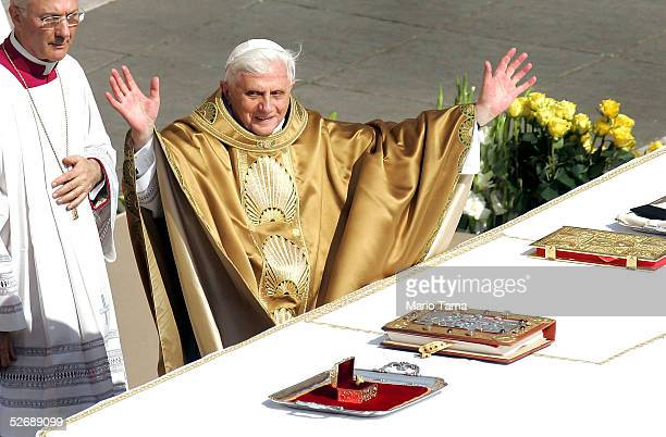 Pope Benedict XVI leads his inaugural mass in Saint Peter's Square on April 24 2005 in Vatican City Thousands of pilgrims attended the mass led by...