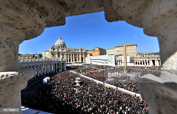 Pope Benedict XVI leads his last weekly audience on February 27 2013 at St Petr's square at the Vatican Pope Benedict XVI will hold the last audience...