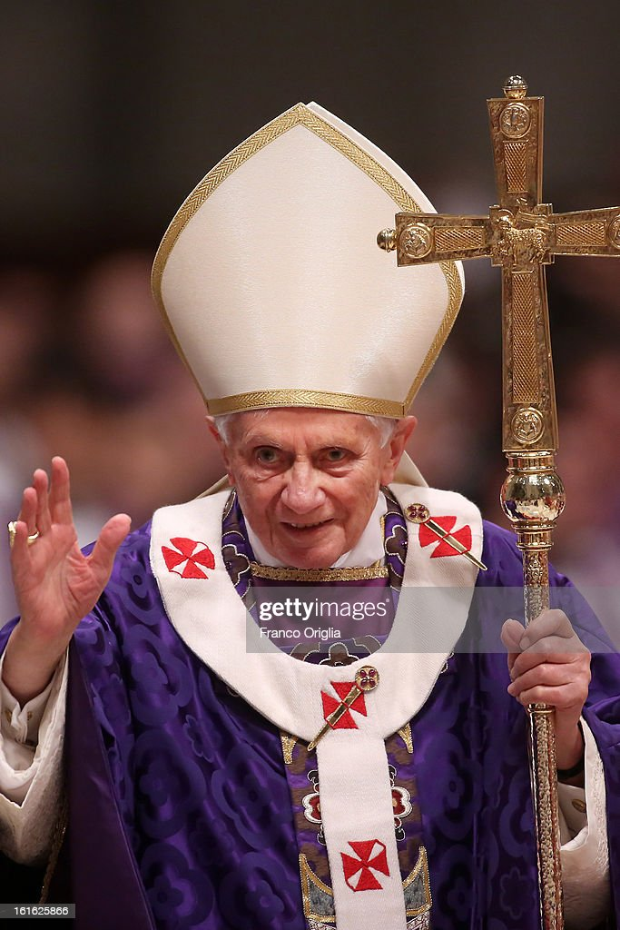 Pope Benedict XVI leads the Ash Wednesday service at the St. Peter's Basilica on February 13, 2013 in Vatican City, Vatican. Ash Wednesday opens the liturgical 40-day period of Lent, a time of prayer, fasting, penitence and alms giving leading up to Easter.