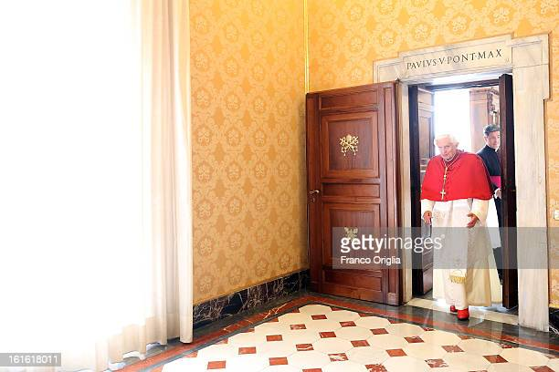 Pope Benedict XVI leaves his studio at the Apostolic Palace to attend an audience on October 25 2012 in Vatican City Vatican Pope Sixtus V built the...