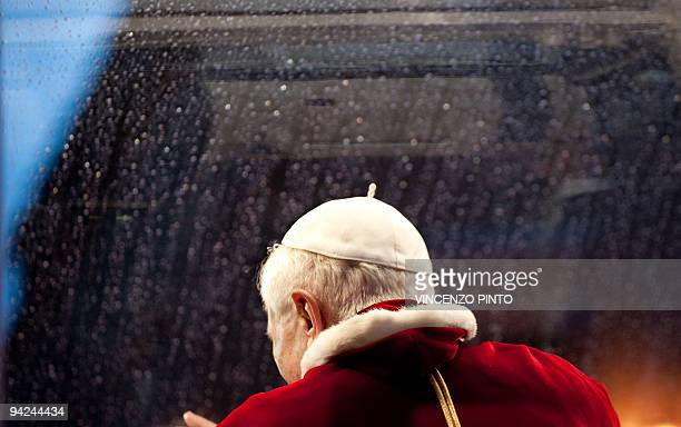 Pope Benedict XVI leaves Piazza di Spania after the traditionnal visit to the statue of Mary on the day of the celebration of the Immaculate...