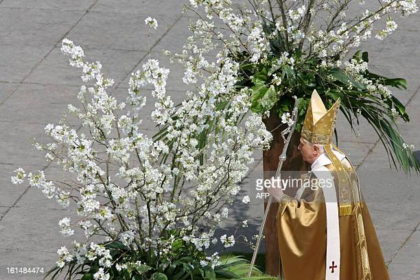 Pope Benedict XVI leaves Saint Peter's square after celebrating a mass on Easter Sunday the most joyous day of the Christian year celebrating...