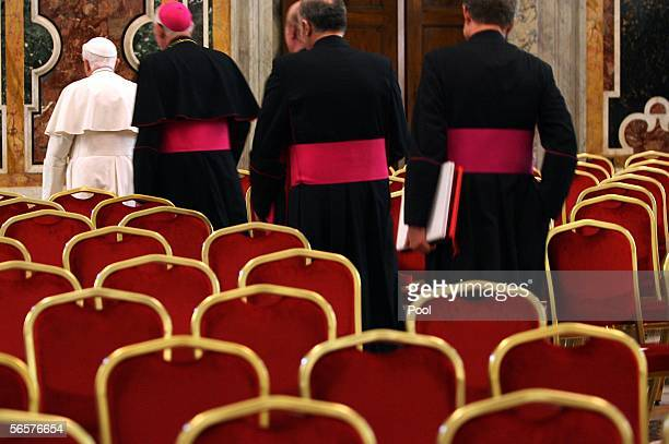 Pope Benedict XVI leaves the Clementina Hall after a meeting with Rome Mayor Walter Veltroni and local administrators January 12 2006 in Vatican City...