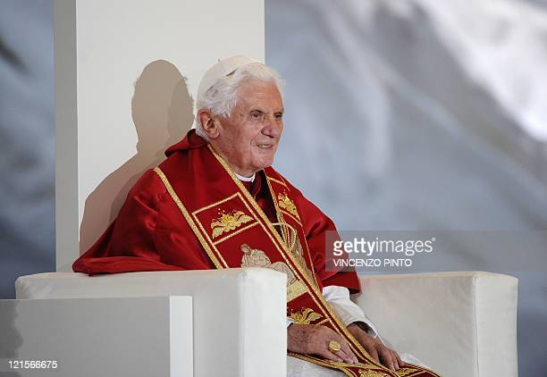 Pope Benedict XVI leds a Prayer Vigil at the Cuatro Vientos air base in Madrid on August 20 2011 during the World Youth Day festivities Around one...