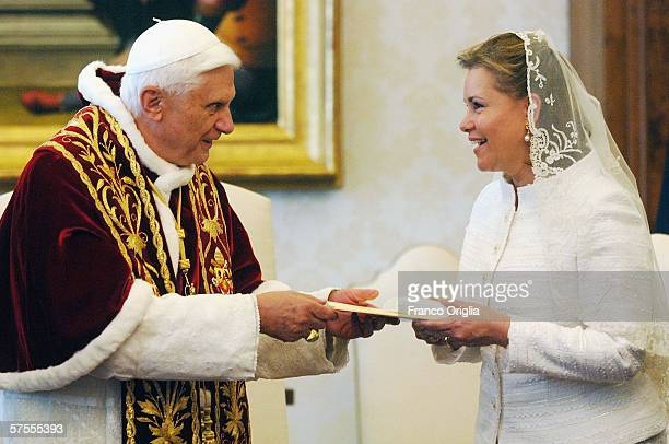 Pope Benedict XVI meets Grand Duchess MariaTeresa of Luxemburg at his private library May 8 in Vatican City