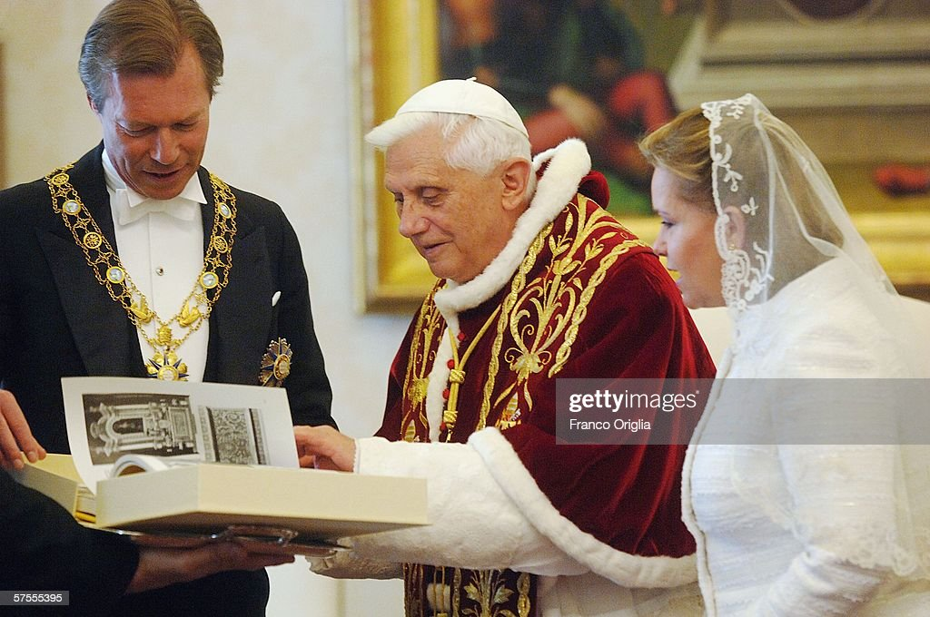 Pope Benedict XVI meets Grand Duke Henri of Luxemburg and Grand Duchess Maria-Teresa of Luxemburg at his private library, May 8, 2006, in Vatican City.