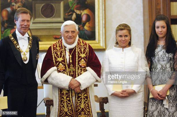 Pope Benedict XVI meets Grand Duke Henri of Luxemburg Grand Duchess MariaTeresa of Luxemburg and Princess Alexandra at his private library May 8 in...