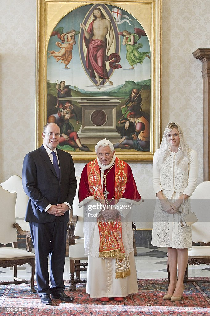 Pope Benedict XVI meets HSH Prince Albert II of Monaco and HSH Princess Charlene of Monaco during a private audience at his library on January 12, 2013 in Vatican City, Vatican.
