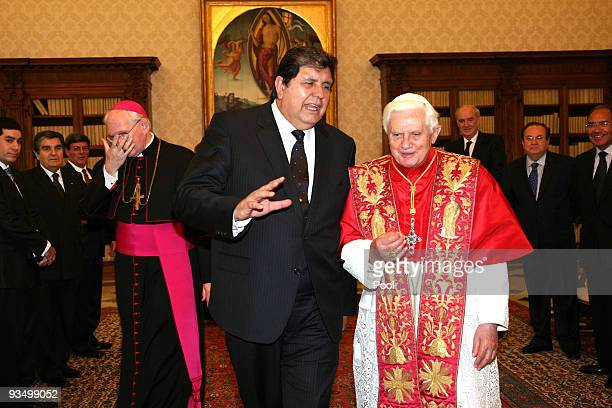 Pope Benedict XVI meets Peruvian President Alan Garcia Perez at his private library on November 30 2009 in Vatican City Vatican President Garcia is...