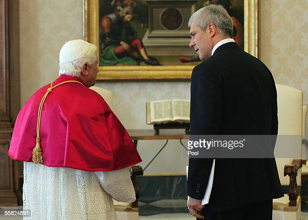 Pope Benedict XVI meets President of Serbia Boris Tadic September 29 2005 at the Vatican President Tadic is on an official visit to the Vatican