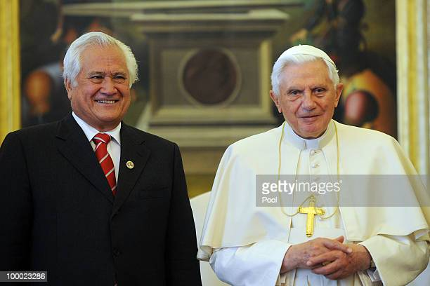 Pope Benedict XVI meets Prime Minister of the Kingdom of Tonga Feleti Sevele on May 20 2010 in Vatican City Vatican