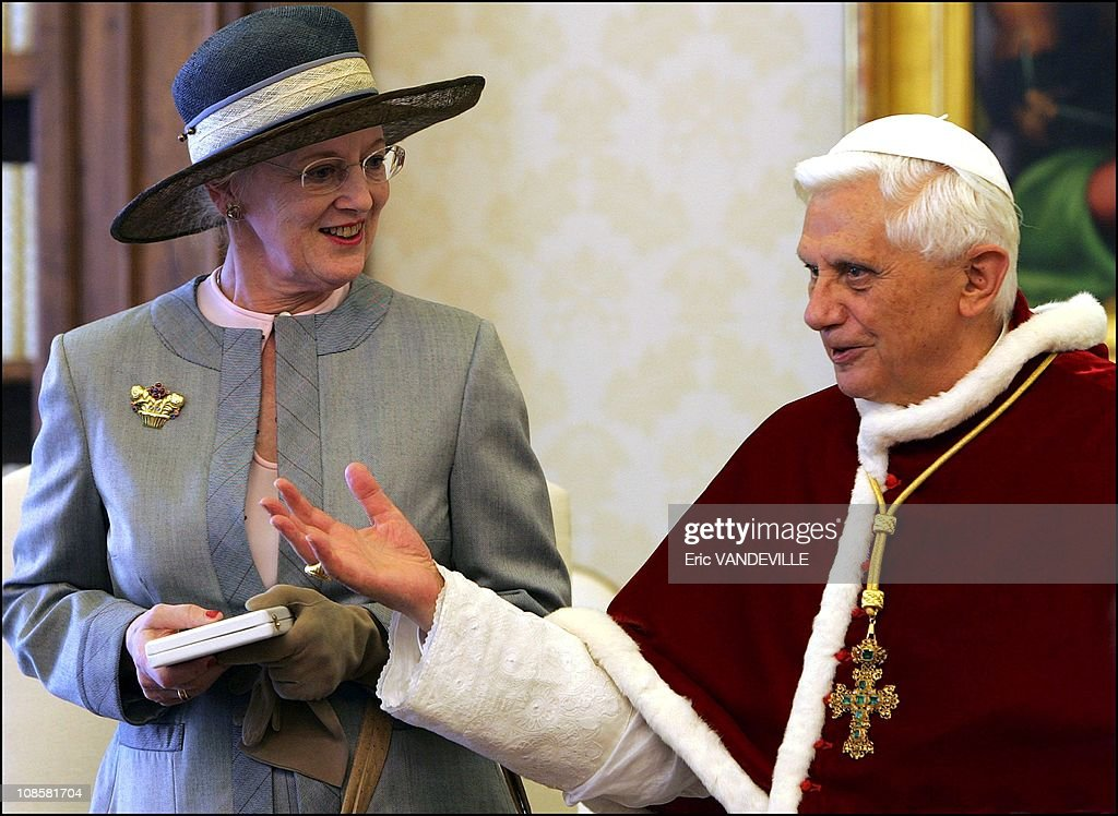 Pope Benedict XVI meets Queen Margrethe II of Denmark during an audience in his private library at the Vatican in Rome,on May 19,2006. : News Photo