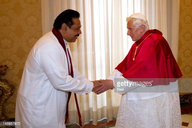 Pope Benedict XVI meets Sri Lankan president Mahinda Rajapaksa at his private library on June 8, 2012 in Vatican City, Vatican.