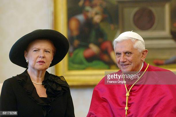 Pope Benedict XVI meets the President of the Republic of Latvia Vaira VikeFreiberga at his private studio on June 30 in Vatican City