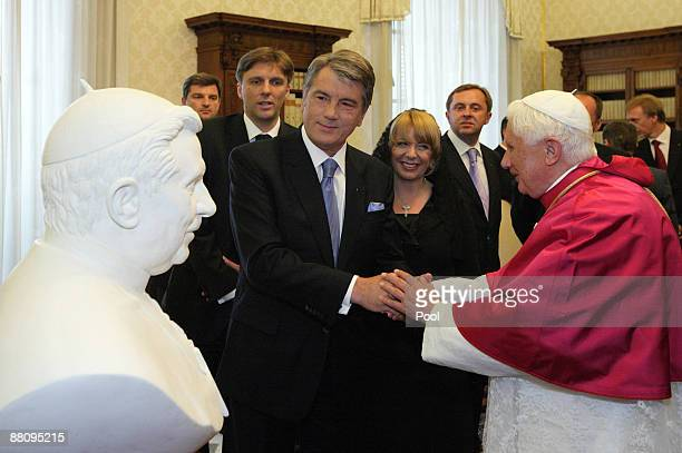 Pope Benedict XVI meets Ukrainian President Victor Yushchenko and his wife Kateryna Mykhailiva Yushchenko at his private library on June 1, 2009 in...
