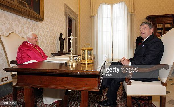 Pope Benedict XVI meets Ukrainian President Victor Yushchenko at his private library on June 1, 2009 in Vatican City.