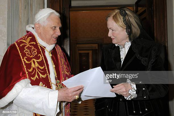 Pope Benedict XVI meets U.S. Ambassador to the Holy See Mary Ann Glendon during a private audience at the Vatican on February 29, 2008. AFP PHOTO /...