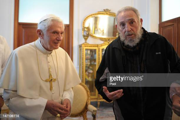 Pope Benedict XVI meets with former Cuban President Fidel Castro at the Vatican embassy on March 29 2012 in Havana Cuba The Pope is finishing up his...