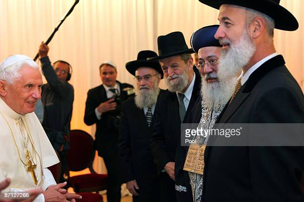 Pope Benedict XVI meets with Israeli chief Rabbis at the center for the Jewish Heritage on May 12, 2009 in Jerusalem, Israel. The Pontiff is on an...