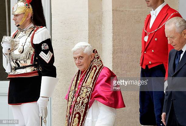 Pope Benedict XVI meets with Italy's President Carlo Azeglio Ciampi during the official visit at the Quirinale Presidential palace June 24 2005 in...