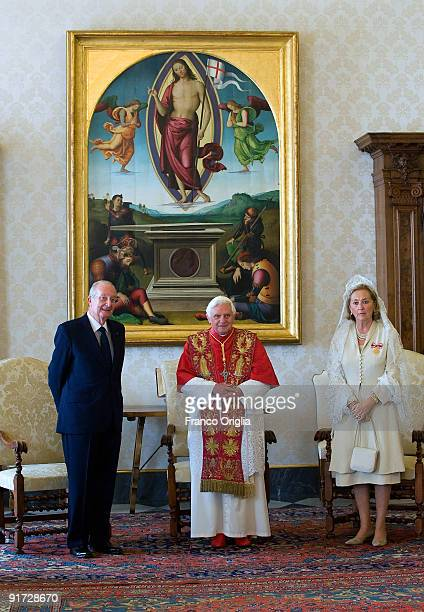 Pope Benedict XVI meets with King Albert II and Queen Paola of Belgium at his library on October 10 2009 in Vatican City Vatican