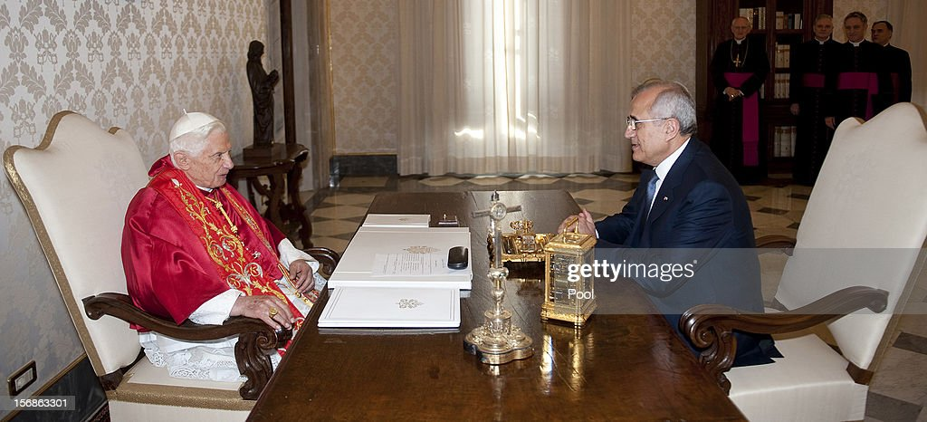 Pope Benedict XVI meets with Lebanon President Michel Sleiman at his private library on November 23, 2012 in Vatican City, Vatican. The meeting comes ahead of the nomination of a new Lebanese cardinal, a move considered by observers as a sign of Vatican support for religious diversity in Lebanon.