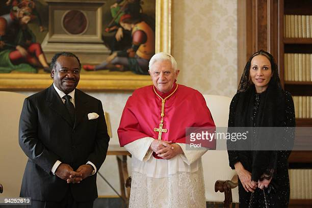 Pope Benedict XVI meets with President of Gabon Ali Bongo Ondimba and his wife on December 10 2009 in Vatican City Vatican