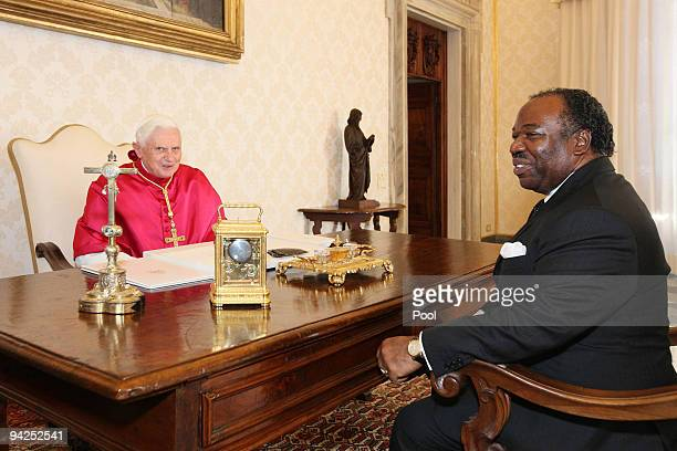Pope Benedict XVI meets with President of Gabon Ali Bongo Ondimba at his library on December 10 2009 in Vatican City Vatican