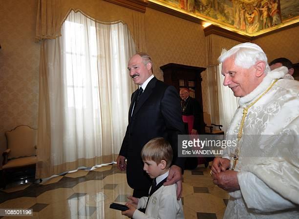 Pope Benedict XVI met Belarus President Alexander Lukashenko and his son Nikolai at the Vatican on April 27, 2009.