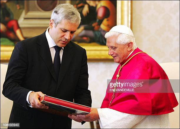Pope Benedict XVI met Boris Tadic President of Serbia at the Vatican in Rome Italy on September 29th 2005