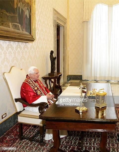 Pope Benedict XVI met President of Honduras Manuel Zelaya during a private audience in Rome Vatican City on November 24 2006