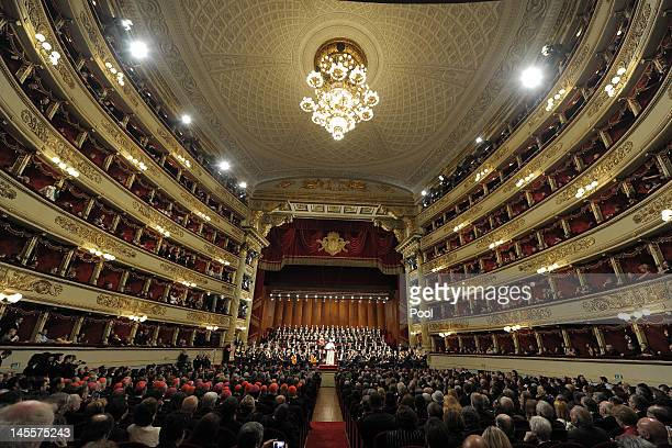 Pope Benedict XVI praises a performance of Beethoven's Ninth symphony during a concert at La Scala Theater on June 1 2012 in Milan Italy Pope...