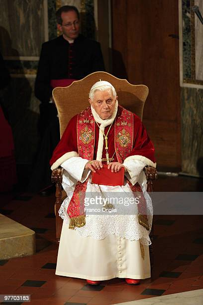 Pope Benedict XVI prays during his visit to the Lutheran Church of Rome on March 14 2010 in Vatican City Vatican Benedict spoke about the importance...