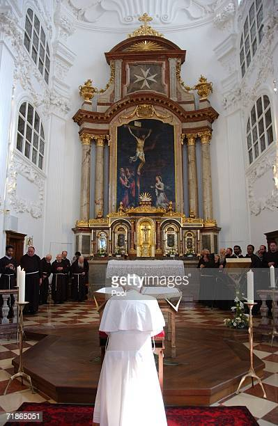 Pope Benedict XVI prays in a chapel of the Santuary of Altoetting during his pastoral visit to his native Bavaria on September 11 2006 in Altoetting...