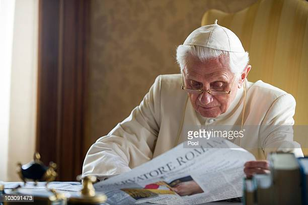 Pope Benedict XVI reads papers in his summer residence on July 26 2010 in Castel Gandolfo near Rome Italy The Pontiff will visit England from...