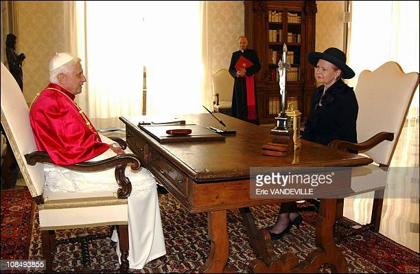 Pope Benedict XVI received Latvian President Vaira VikeFreiberga in his private library at the Vatican in Rome Italy on June 30th 2005