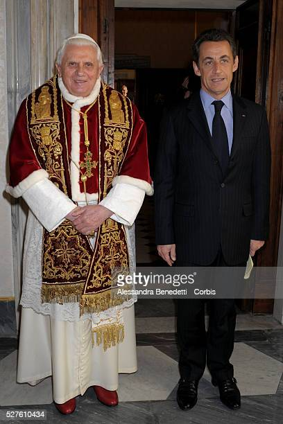 Pope Benedict XVI receives French President Nicolas Sarkozy at the Vatican