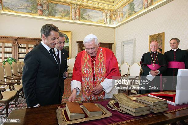 Pope Benedict XVI receives French president Nicolas Sarkozy at the VaticanPhoto by Vatican Pool