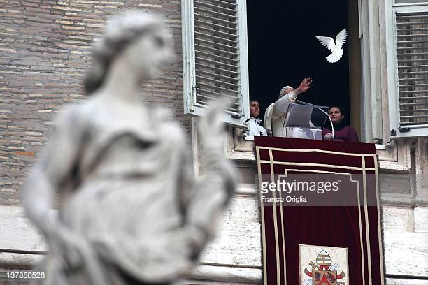 Pope Benedict XVI releases two doves from the window of his studio at the end of his Sunday Angelus prayer in St Peter's square on January 29 2012 in...