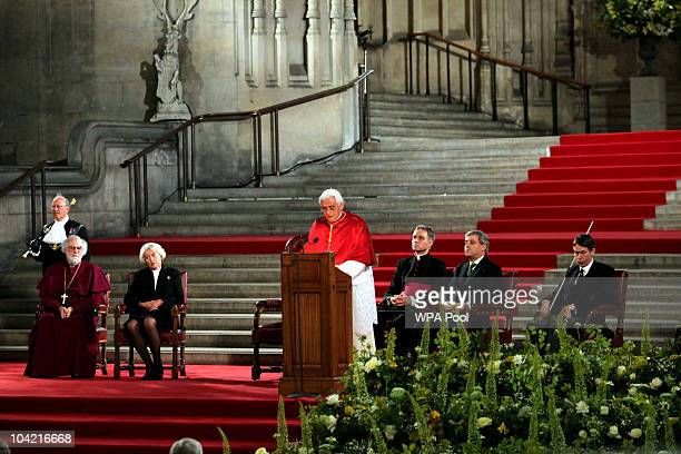 Pope Benedict XVI speaks at Westminster Hall on September 17, 2010 in London, United Kingdom. During the four day state visit Pope Benedict will...