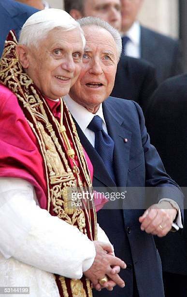 Pope Benedict XVI stands next to Italy's President Carlo Azeglio Ciampi during an official visit at the Quirinale Presidential palace June 24 2005 in...