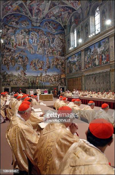 Pope Benedict XVI started his first day in office celebrating a mass in the Sistine Chapel with cardinals who elected him as leader of the world's 11...